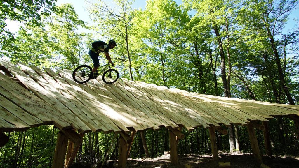 person biking on wood ramp