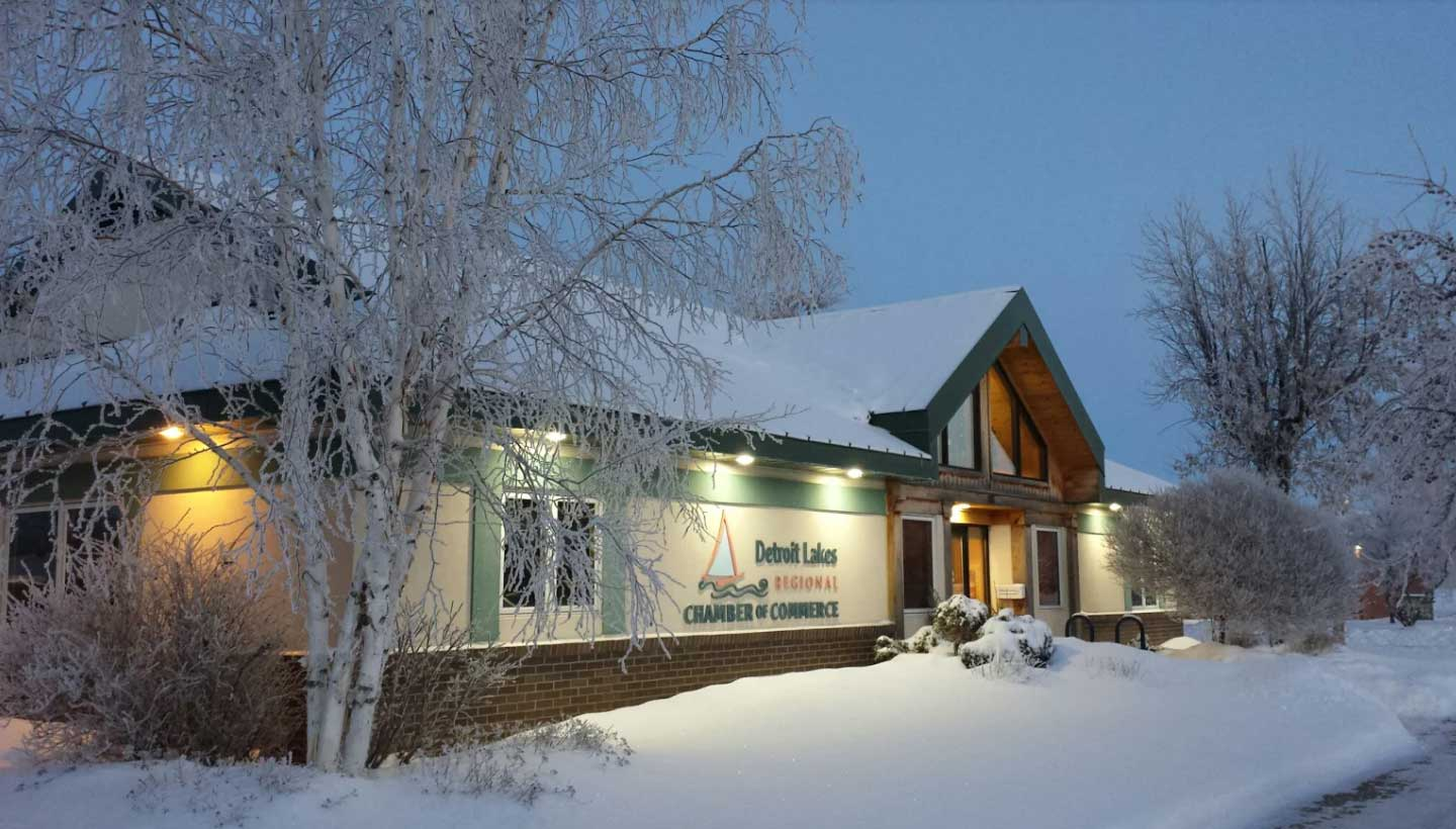 Detroit Lakes chamber of commerce office building during winter