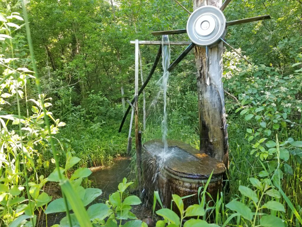 Water flows from Artesian well